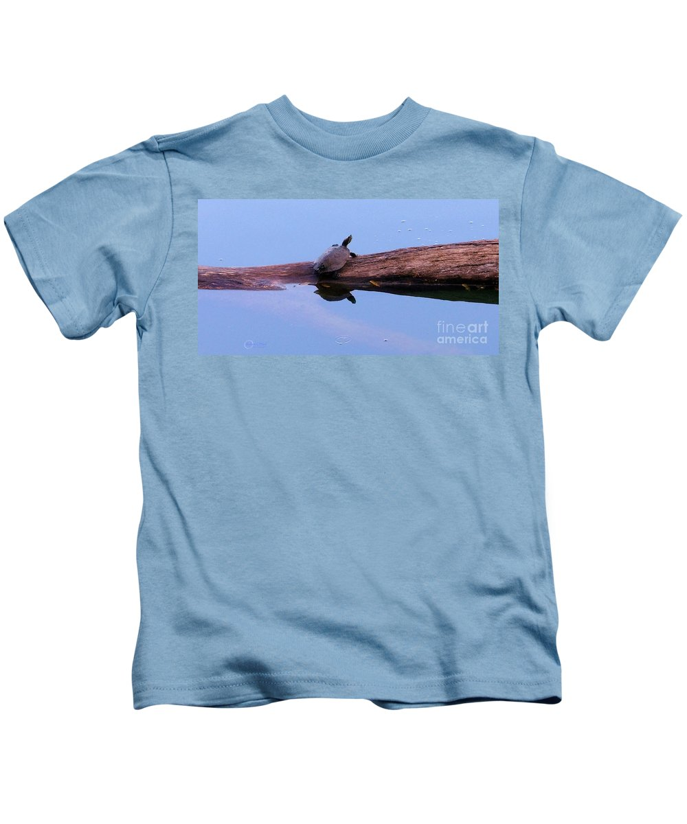 Turtle Kids T-Shirt featuring the photograph A Turtle Reflecting by Robert ONeil