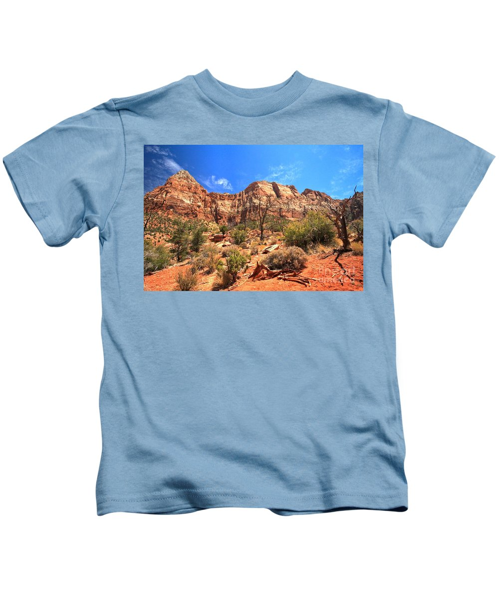 Zion National Park Kids T-Shirt featuring the photograph A View Along The Watchman by Adam Jewell