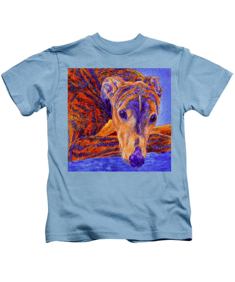 Dog Kids T-Shirt featuring the painting Ace by Ann Ranlett