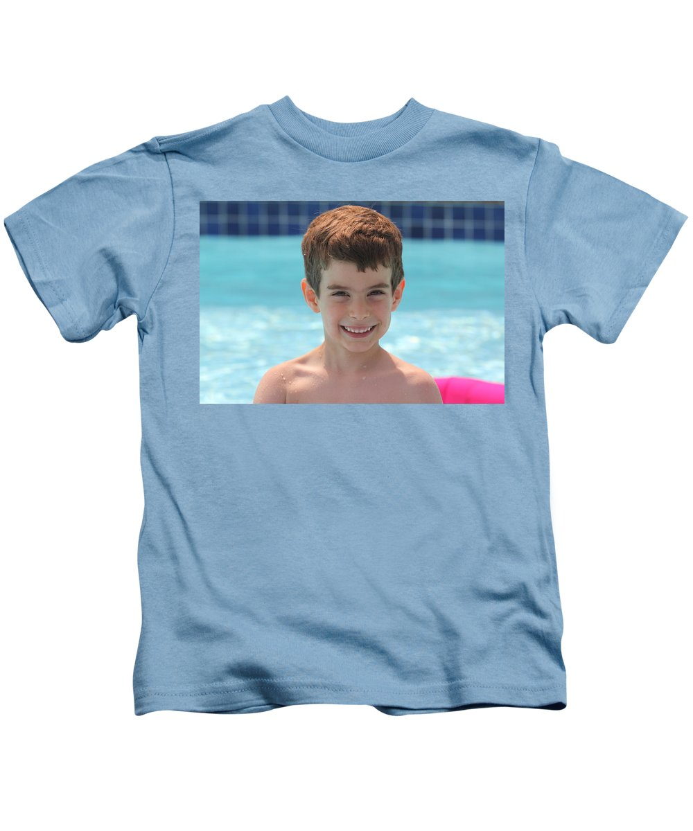 Kids T-Shirt featuring the photograph Aidan At The Pool by Jean Macaluso