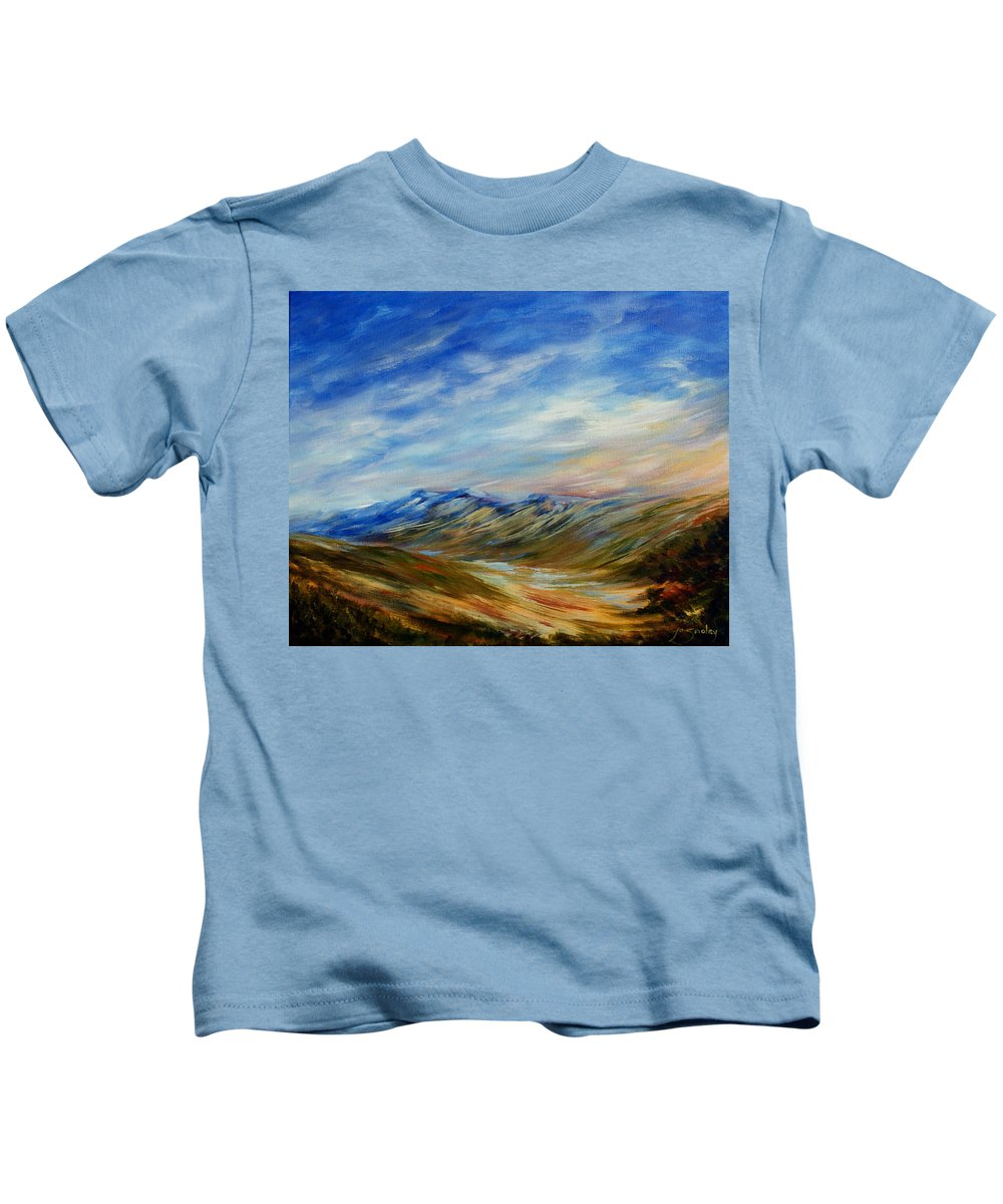 Alberta Moment Kids T-Shirt featuring the painting Alberta Moment by Joanne Smoley