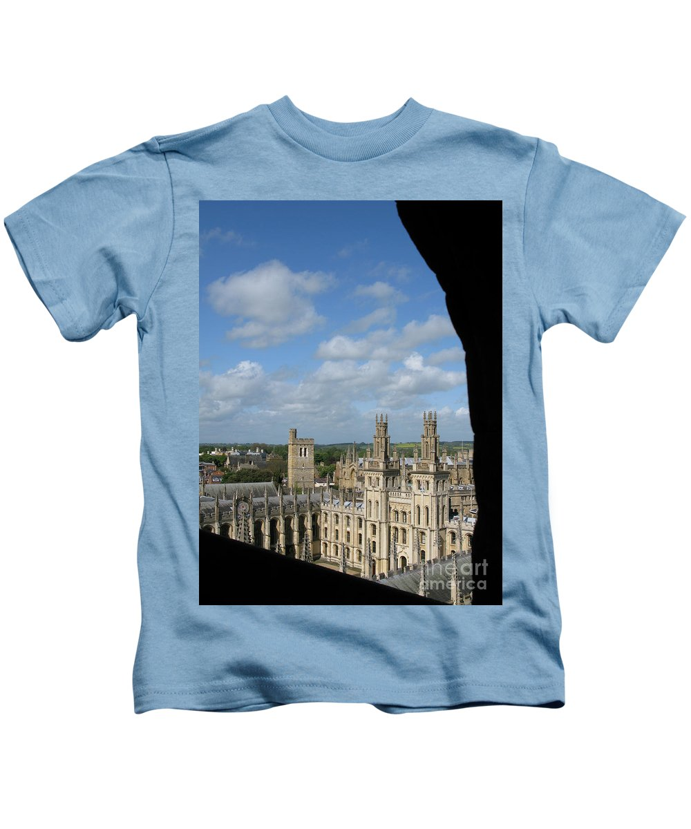 Oxford University Kids T-Shirt featuring the photograph All Souls College And Beyond by Ann Horn