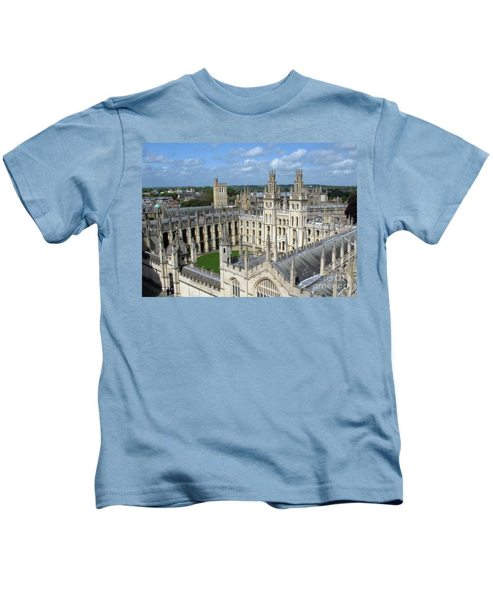 Oxford Kids T-Shirt featuring the photograph All Souls College by Ann Horn