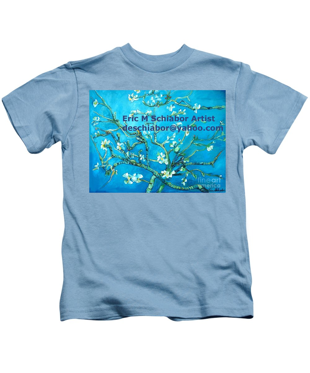 Almond Blossom Van Gogh Kids T-Shirt featuring the painting Almond Blossom Branches by Eric Schiabor