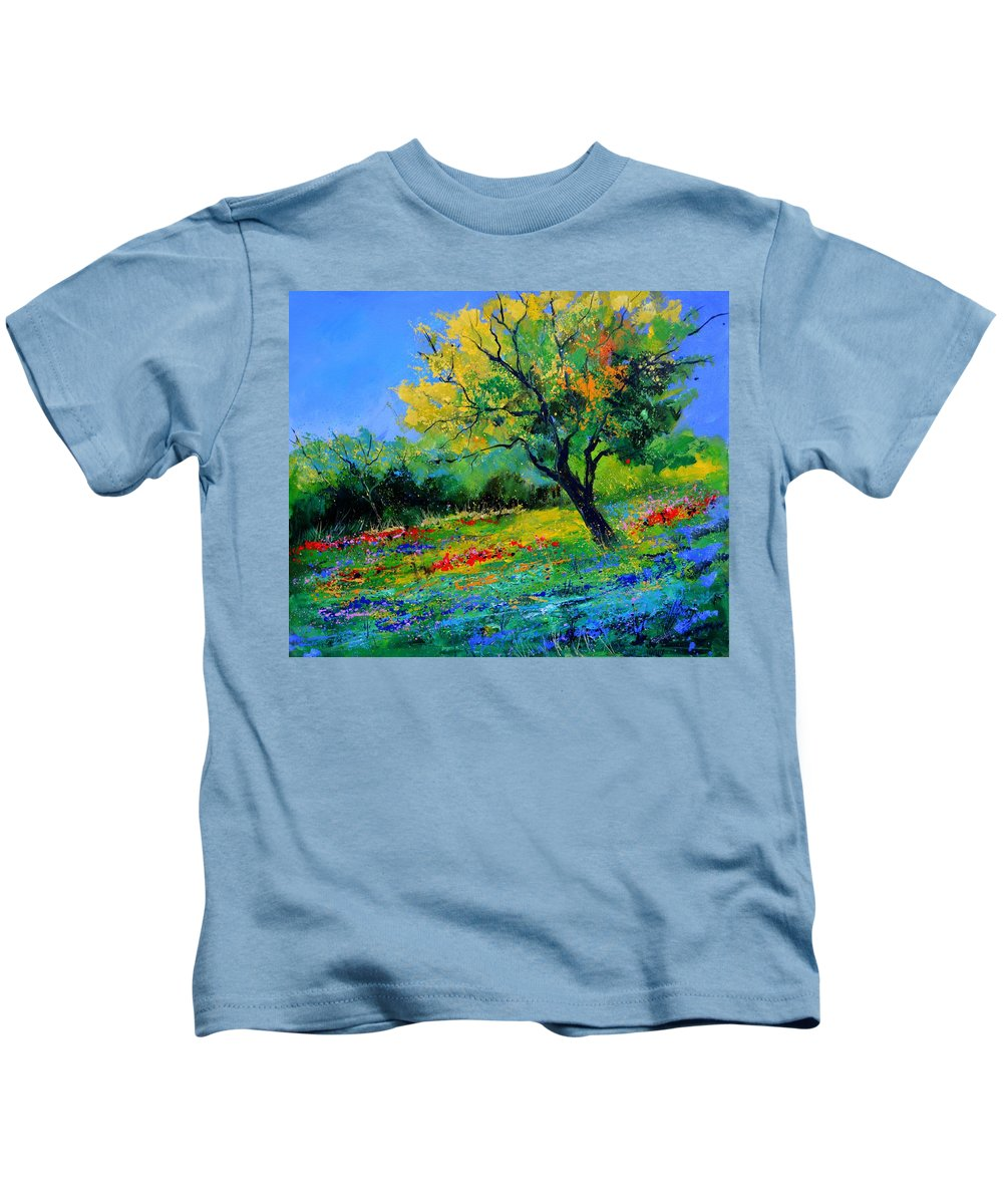 Landscape Kids T-Shirt featuring the painting An oak amid flowers in Texas by Pol Ledent