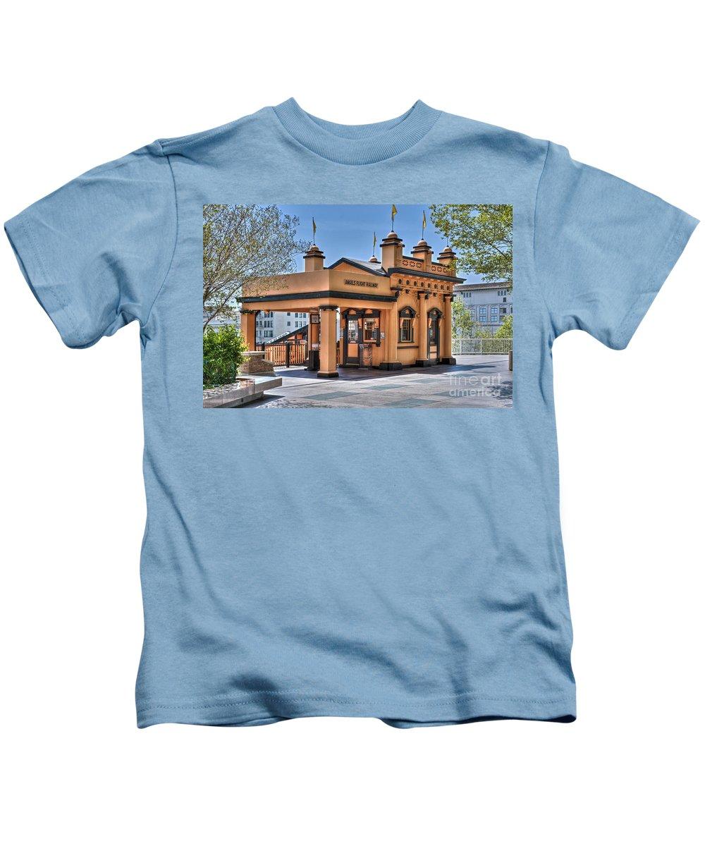 Bunker Hill Kids T-Shirt featuring the photograph Angels Flight Landmark Funicular Railway Bunker Hill by David Zanzinger
