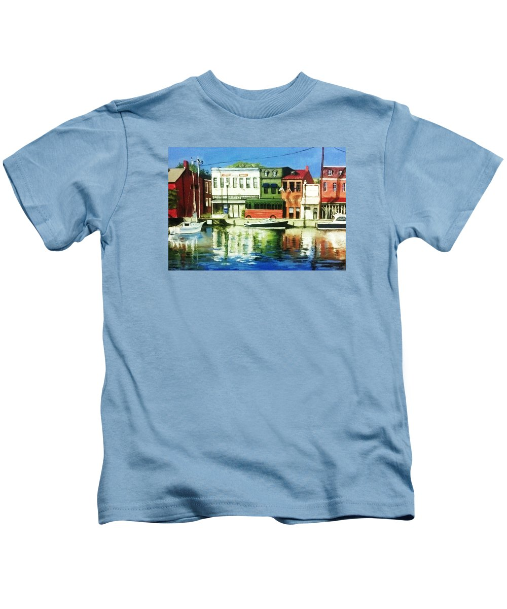 Architecture Kids T-Shirt featuring the painting Annapolis Md by Lawrence Saunders