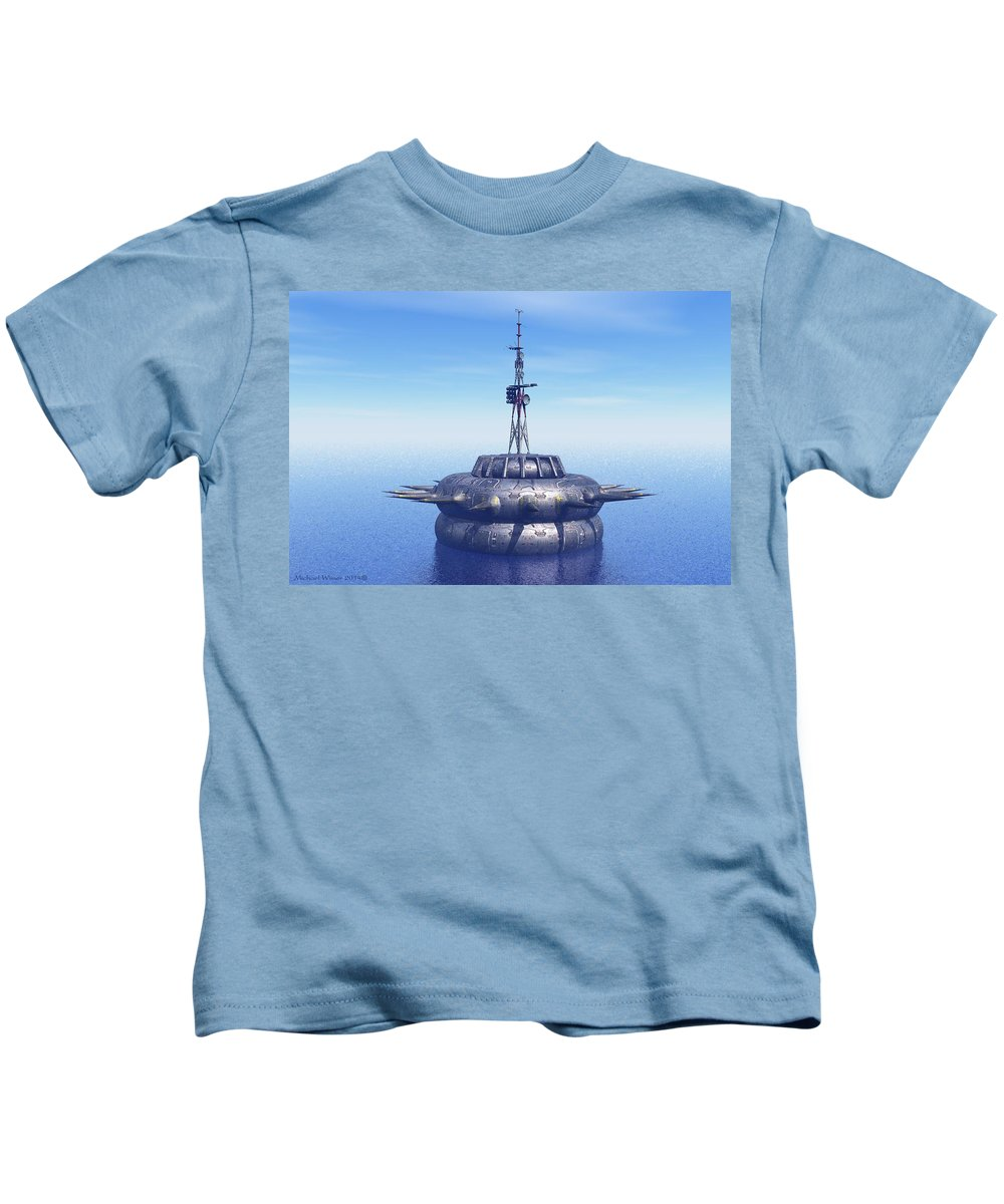 Digital Art Kids T-Shirt featuring the digital art Approach With Extreme Caution by Michael Wimer