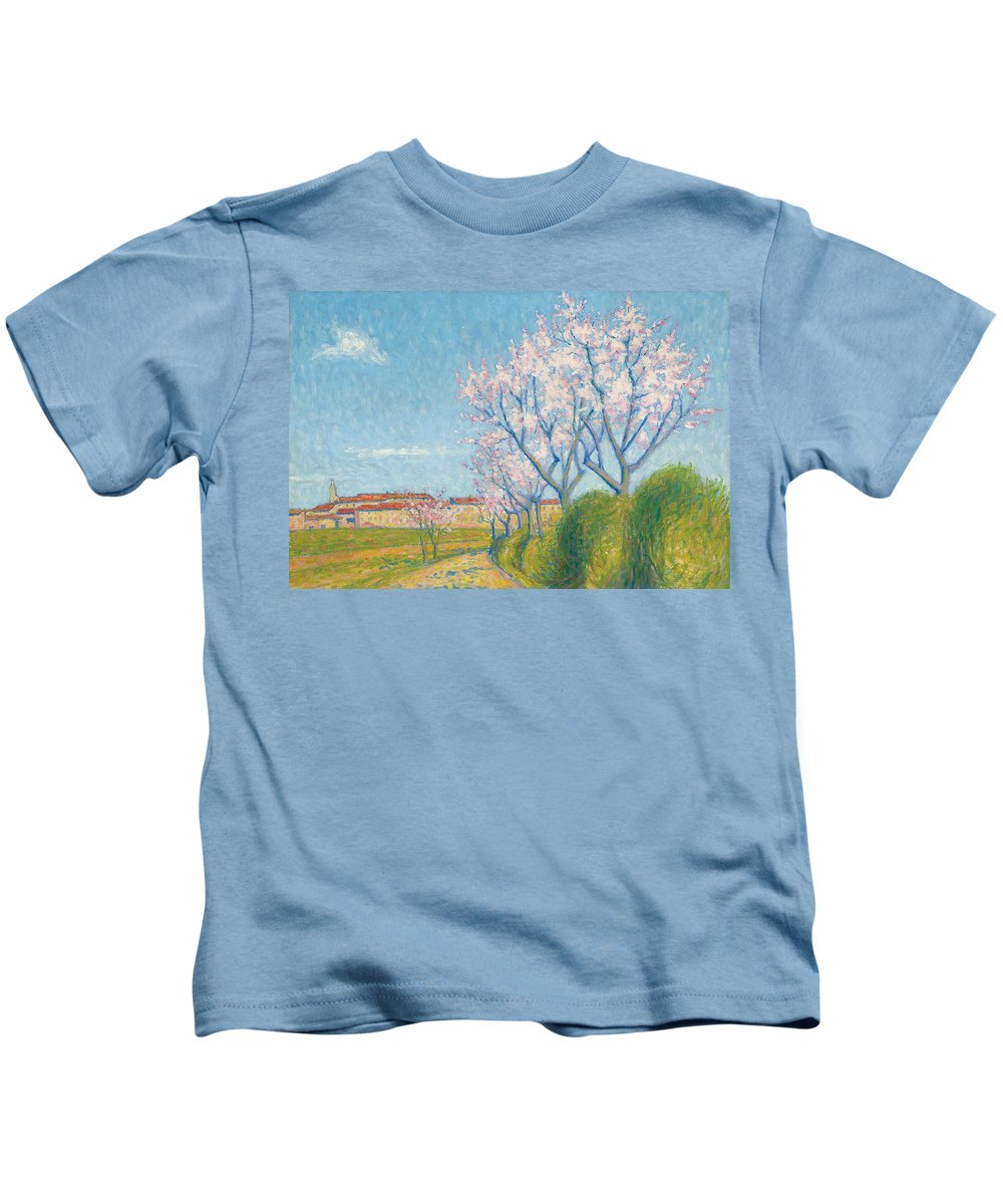 Trees Kids T-Shirt featuring the painting Arbes En Fleurs A L'entree De Cailhavel by Achille Lauge