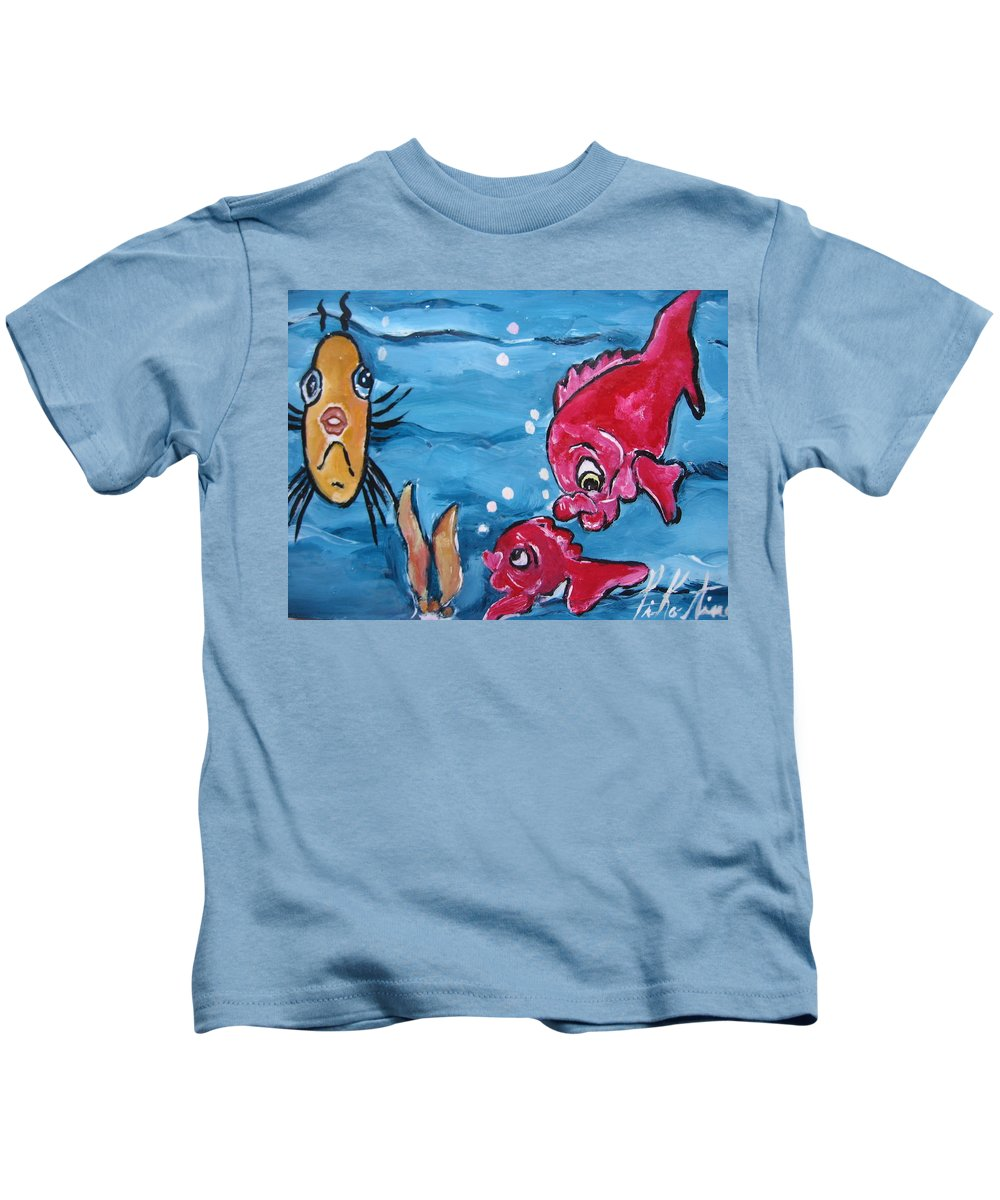 Pikotine Kids T-Shirt featuring the painting Fish Art by Pikotine Art