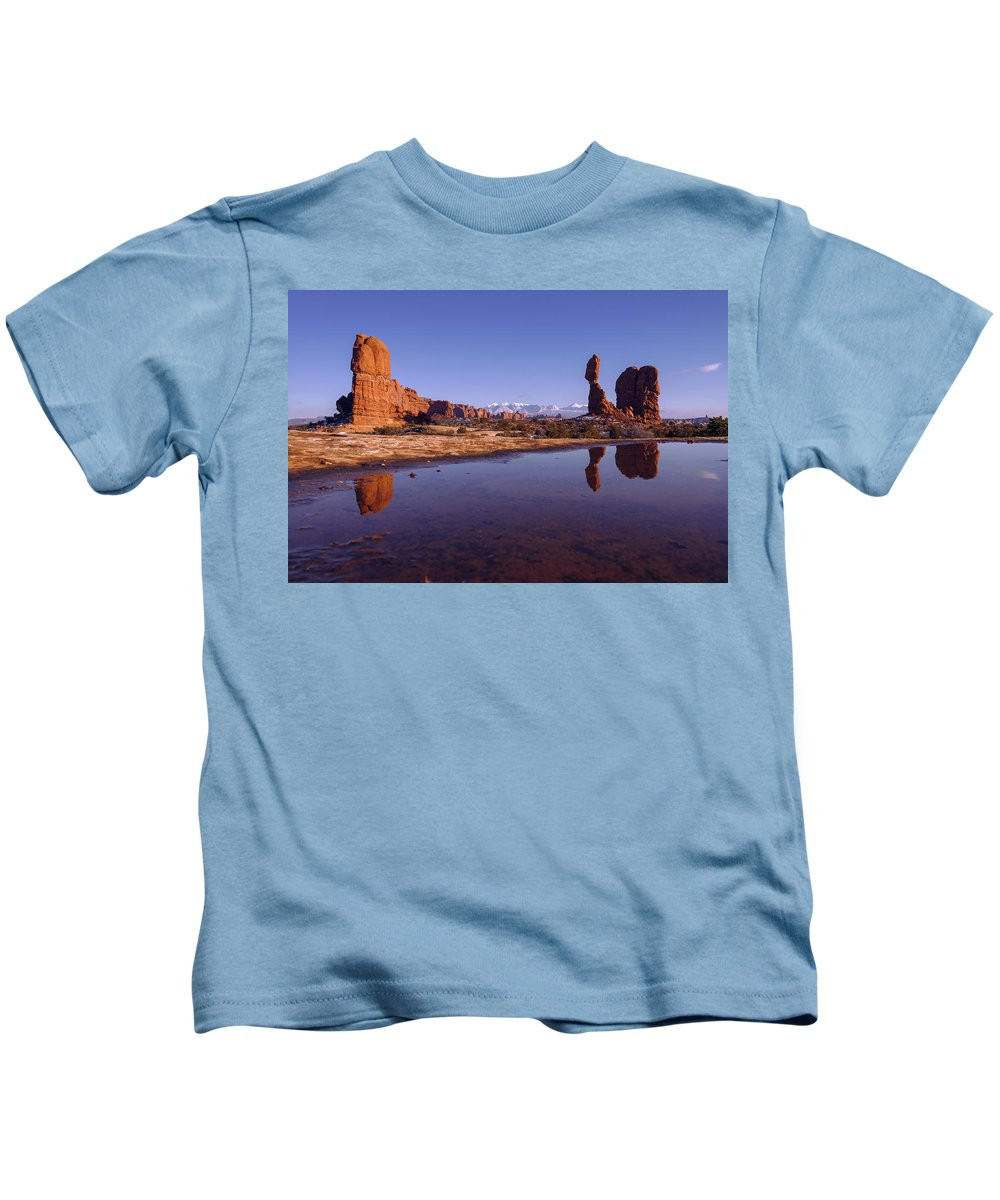 Arches Kids T-Shirt featuring the photograph Balanced Reflection by Chad Dutson