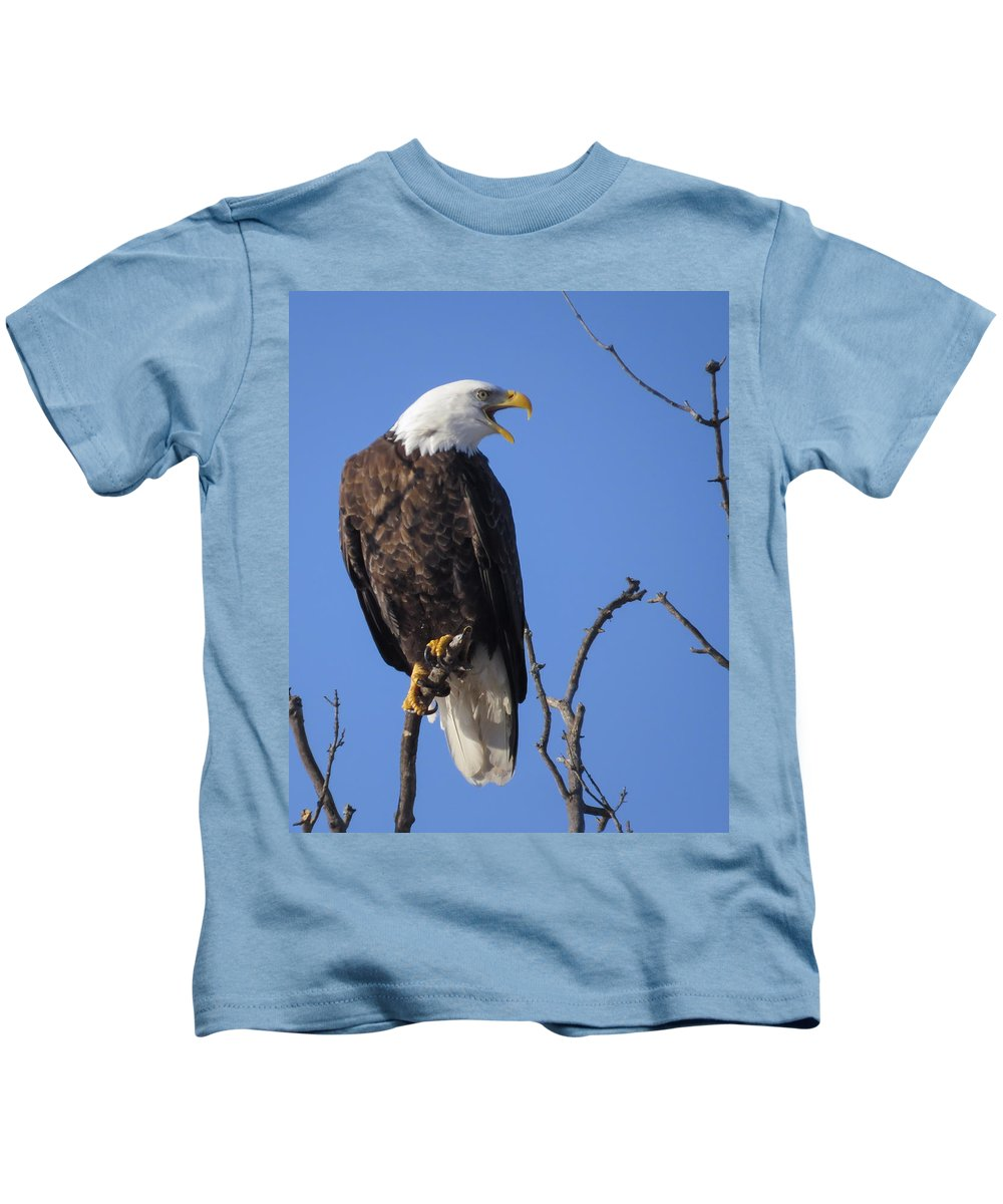Adult Kids T-Shirt featuring the photograph Bald Eagle Calling by Deb Fedeler