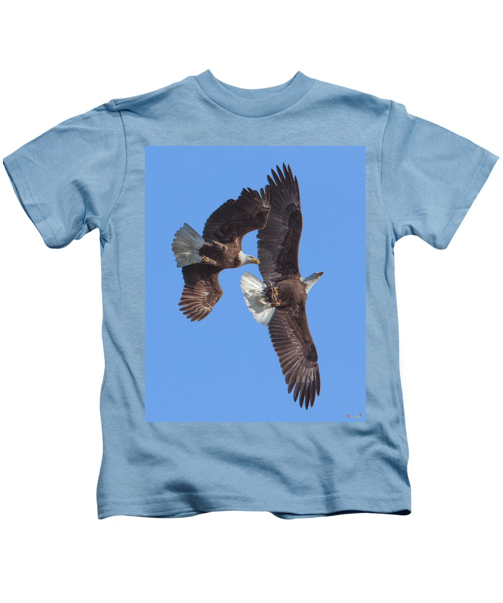 Marsh Kids T-Shirt featuring the photograph Bald Eagle Chase Over Pohick Bay Drb148 by Gerry Gantt