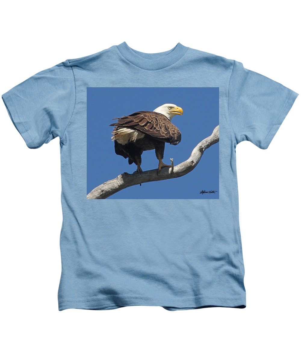 Wildlife Kids T-Shirt featuring the photograph Bald Egle by Stephanie Salter