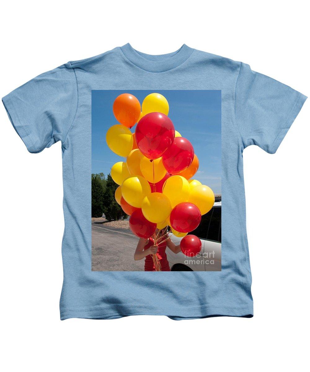 Balloons Kids T-Shirt featuring the photograph Balloon Girl by Ann Horn