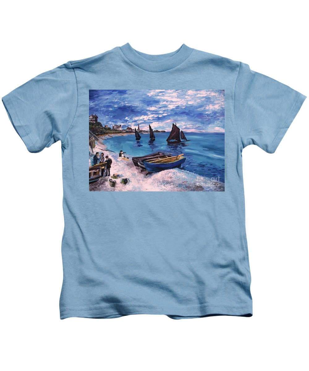 Monet Kids T-Shirt featuring the painting Beach At Sainte Adresse Monet by Eric Schiabor