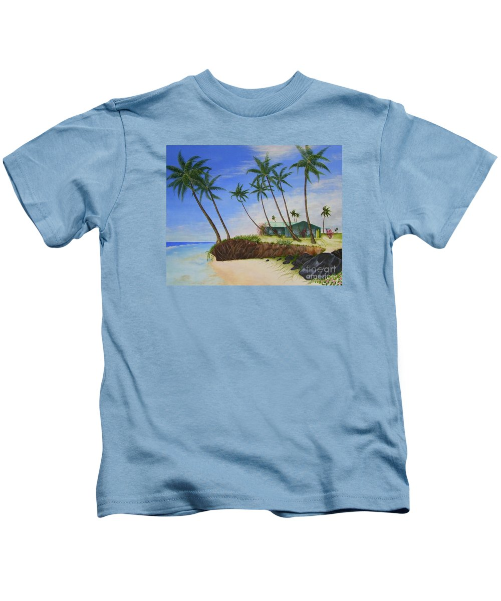 Beach House Kids T-Shirt featuring the painting Beach House by Mary Deal