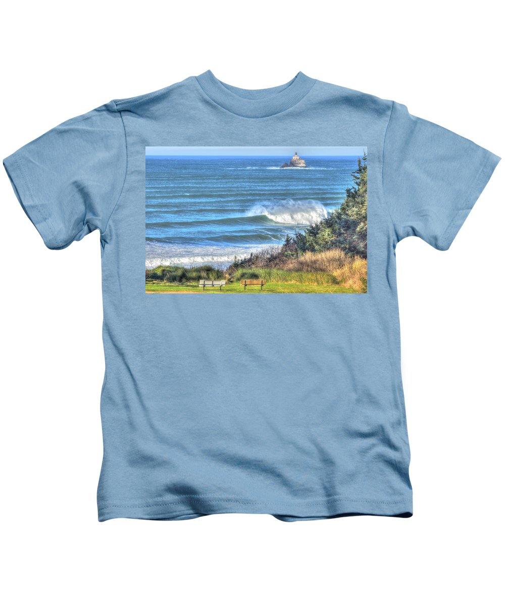 Cannon Beach Kids T-Shirt featuring the photograph Benches On The Beach by John Trax
