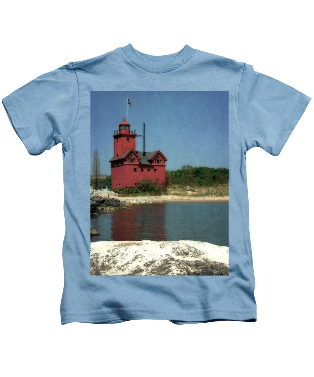 Michigan Kids T-Shirt featuring the photograph Big Red Holland Michigan Lighthouse by Michelle Calkins