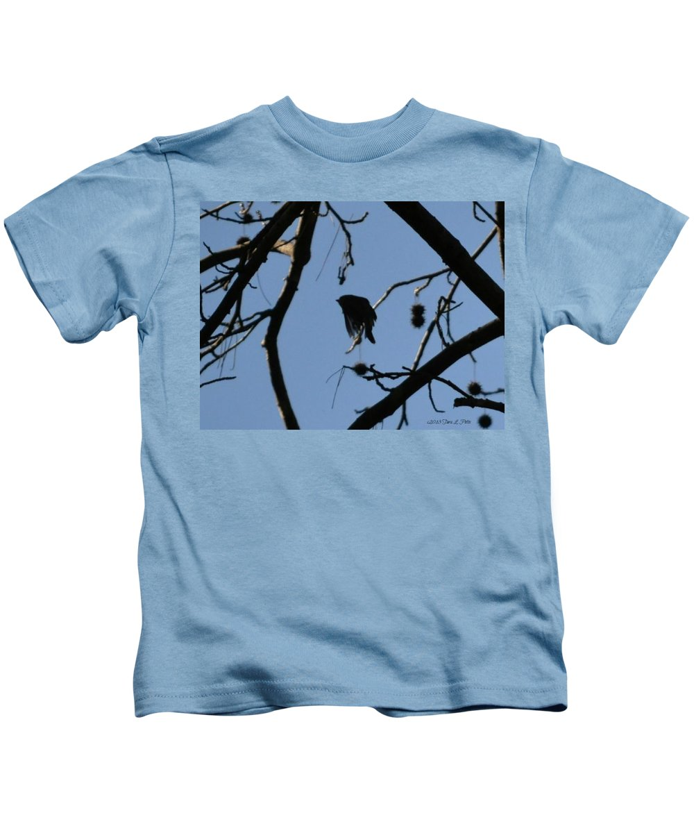 Bird Kids T-Shirt featuring the photograph Bird In Flight by Tara Potts