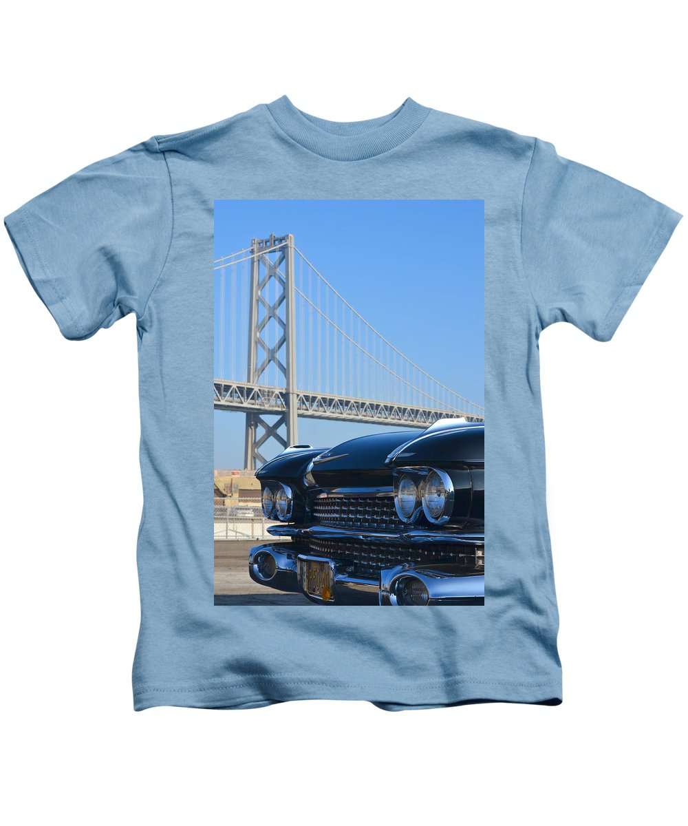 Kids T-Shirt featuring the photograph Black Cadillac In San Francisco by Dean Ferreira