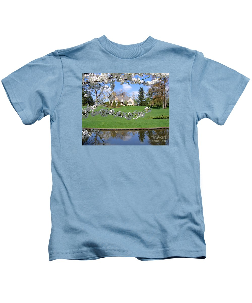 Spring Kids T-Shirt featuring the photograph Blossom-framed House by Ann Horn