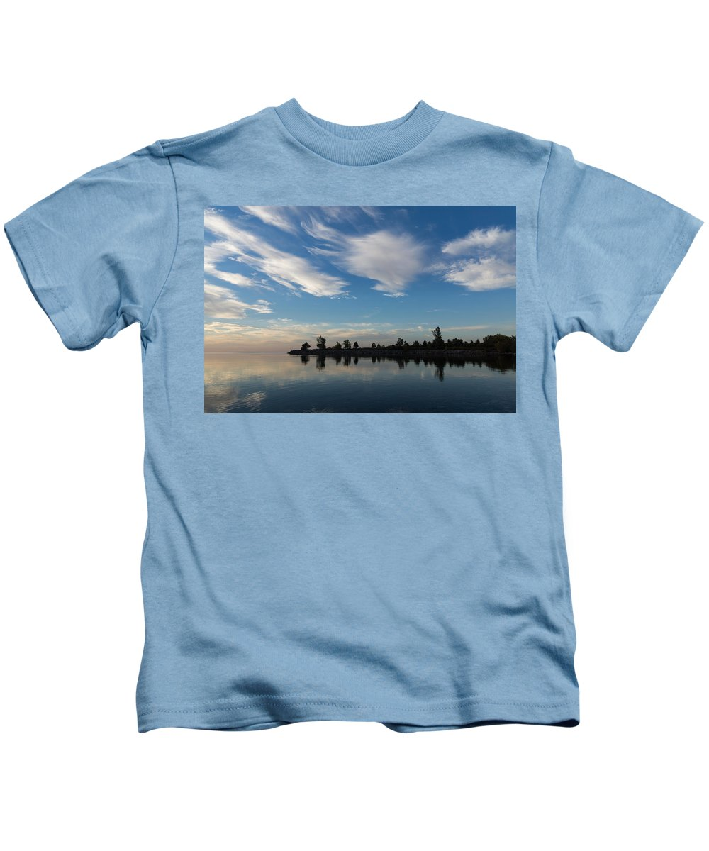Brushstrokes Kids T-Shirt featuring the photograph Brushstrokes On The Sky - Blue And White Serenity by Georgia Mizuleva