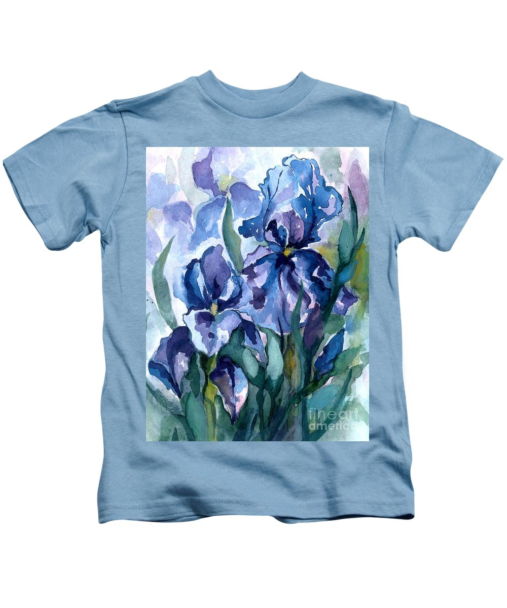 Flower Kids T-Shirt featuring the painting Blue Iris by Barbara Jewell