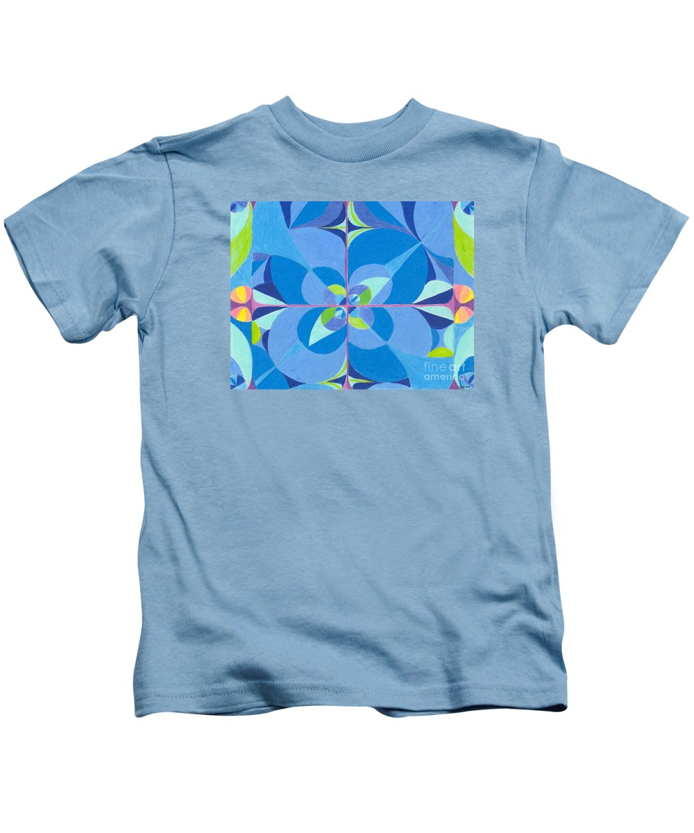 Color Kids T-Shirt featuring the drawing Blue Unity by Kim Sy Ok