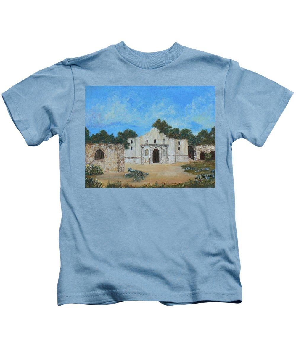 The Alamo. Bluebonnets. Landscape Kids T-Shirt featuring the painting Bluebonnets At The Alamo by Cheryl Damschen