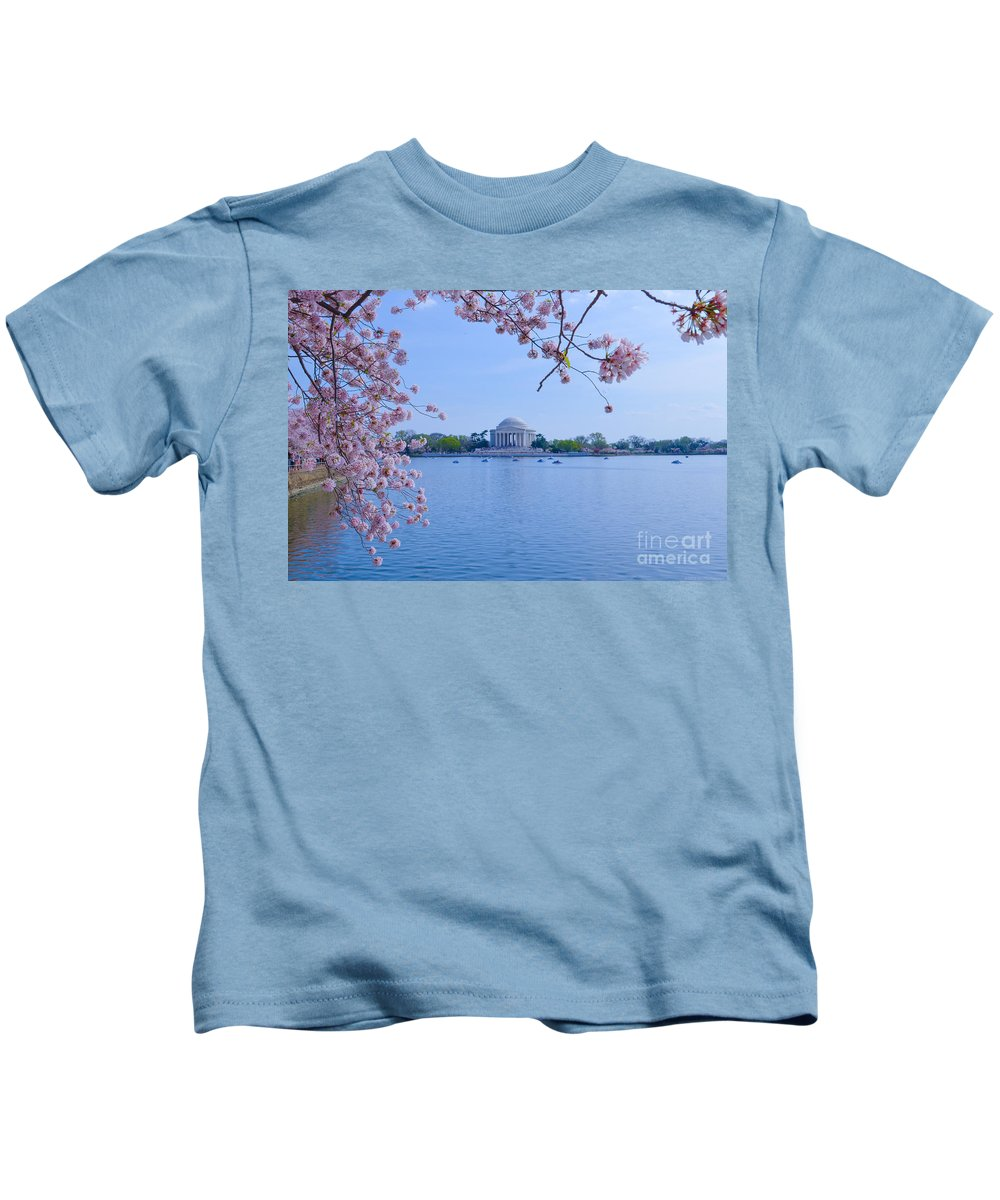 2012 Centennial Celebration Kids T-Shirt featuring the photograph Boats Across The Basin Of Blossoms by Jeff at JSJ Photography