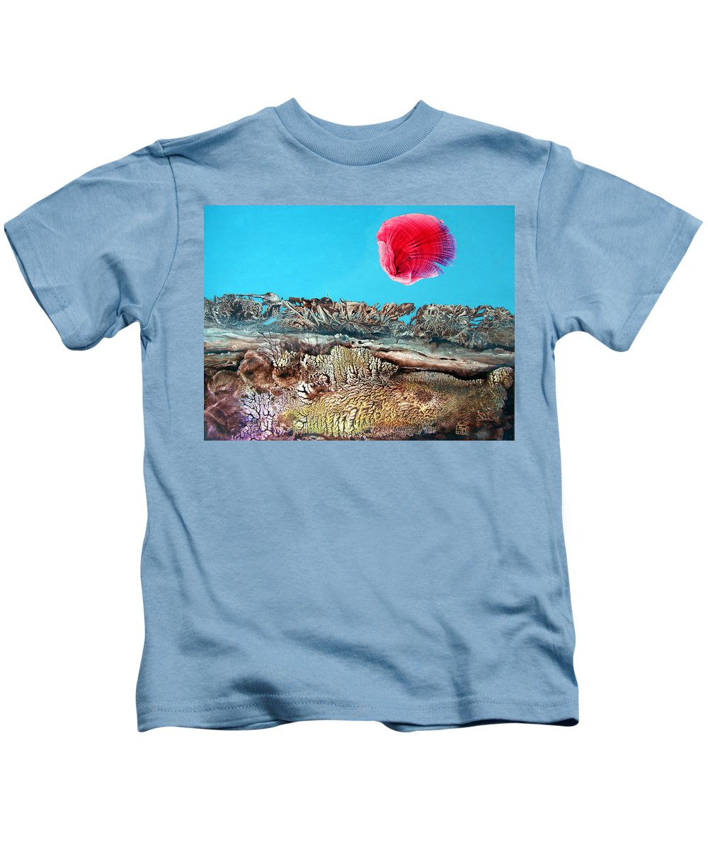 Decalcomania Kids T-Shirt featuring the painting Bogomil Sunrise 2 by Otto Rapp