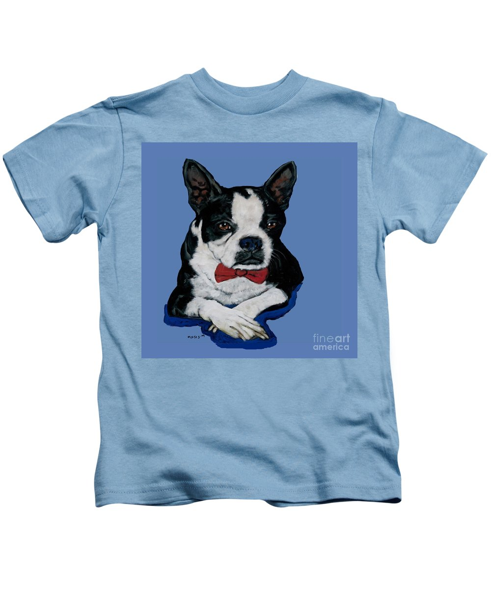 Boston Kids T-Shirt featuring the painting Boston Terrier With A Bowtie by Dale Moses