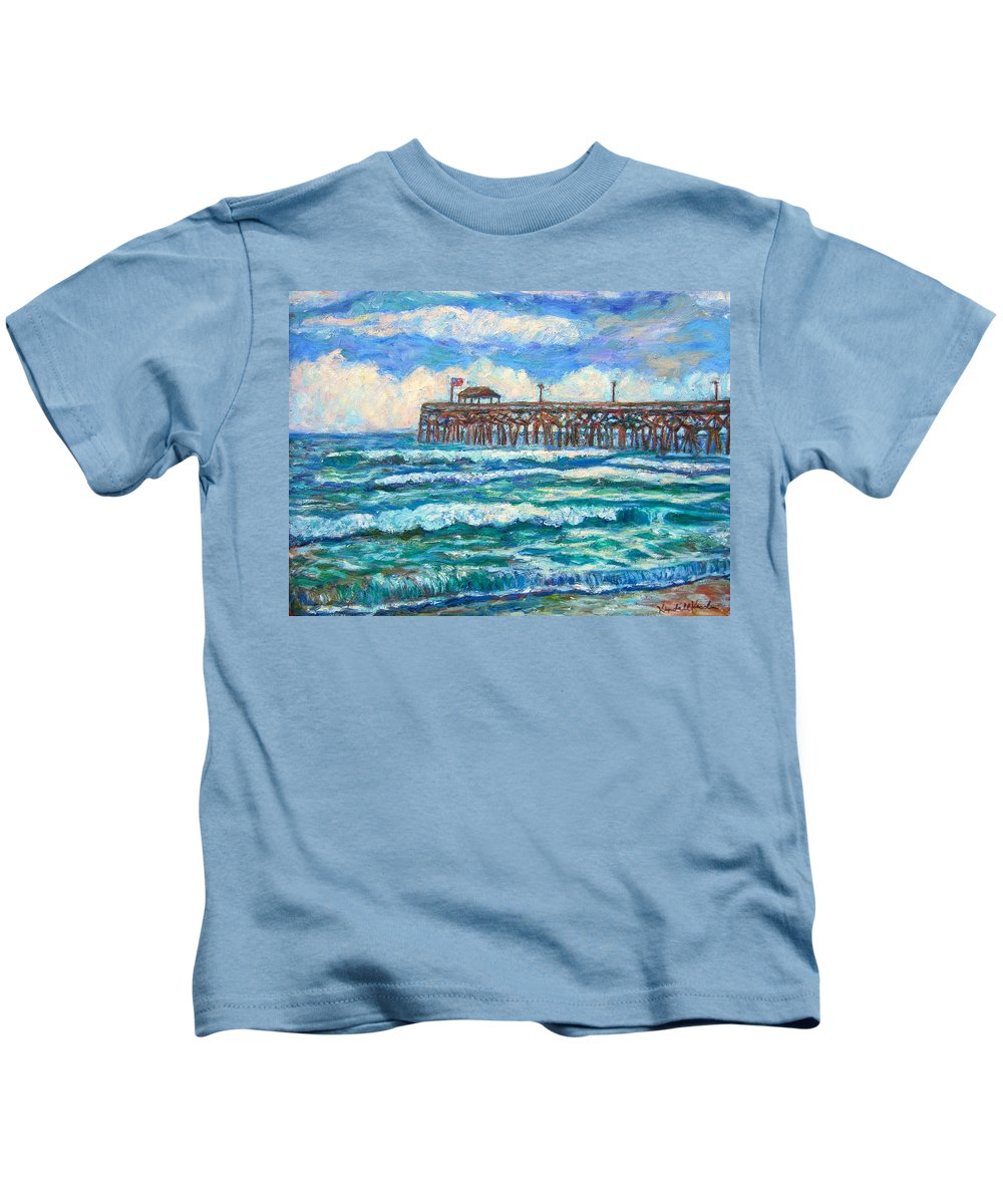 Shore Scenes Kids T-Shirt featuring the painting Breakers At Pawleys Island by Kendall Kessler