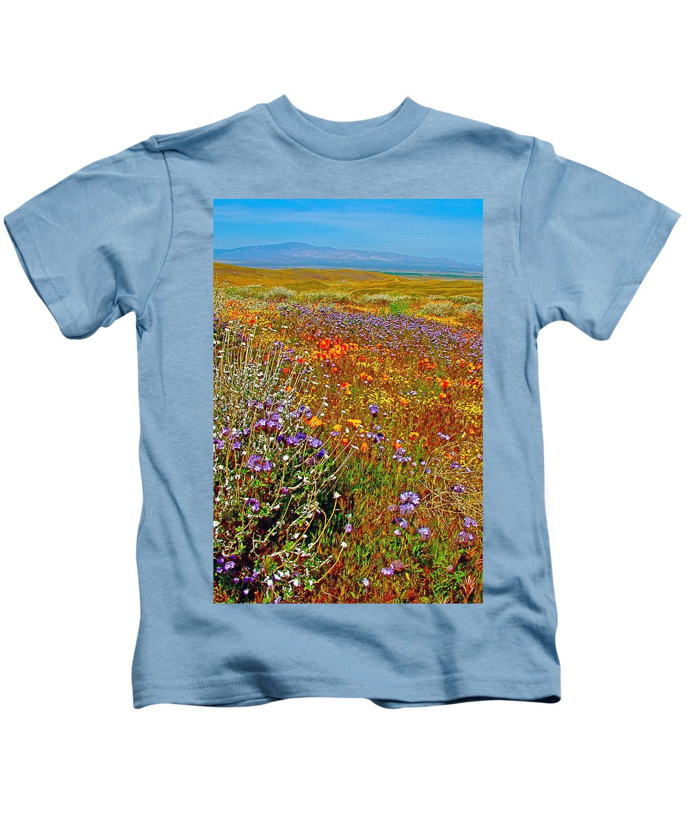 Ca Poppies And Goldfields And Lacy Phacelia And Sage In Antelope Valley Ca Poppy Reserve Kids T-Shirt featuring the photograph Ca Poppies And Goldfields And Lacy Phacelia And Sage In Antelope Valley Ca Poppy Reserve-california by Ruth Hager