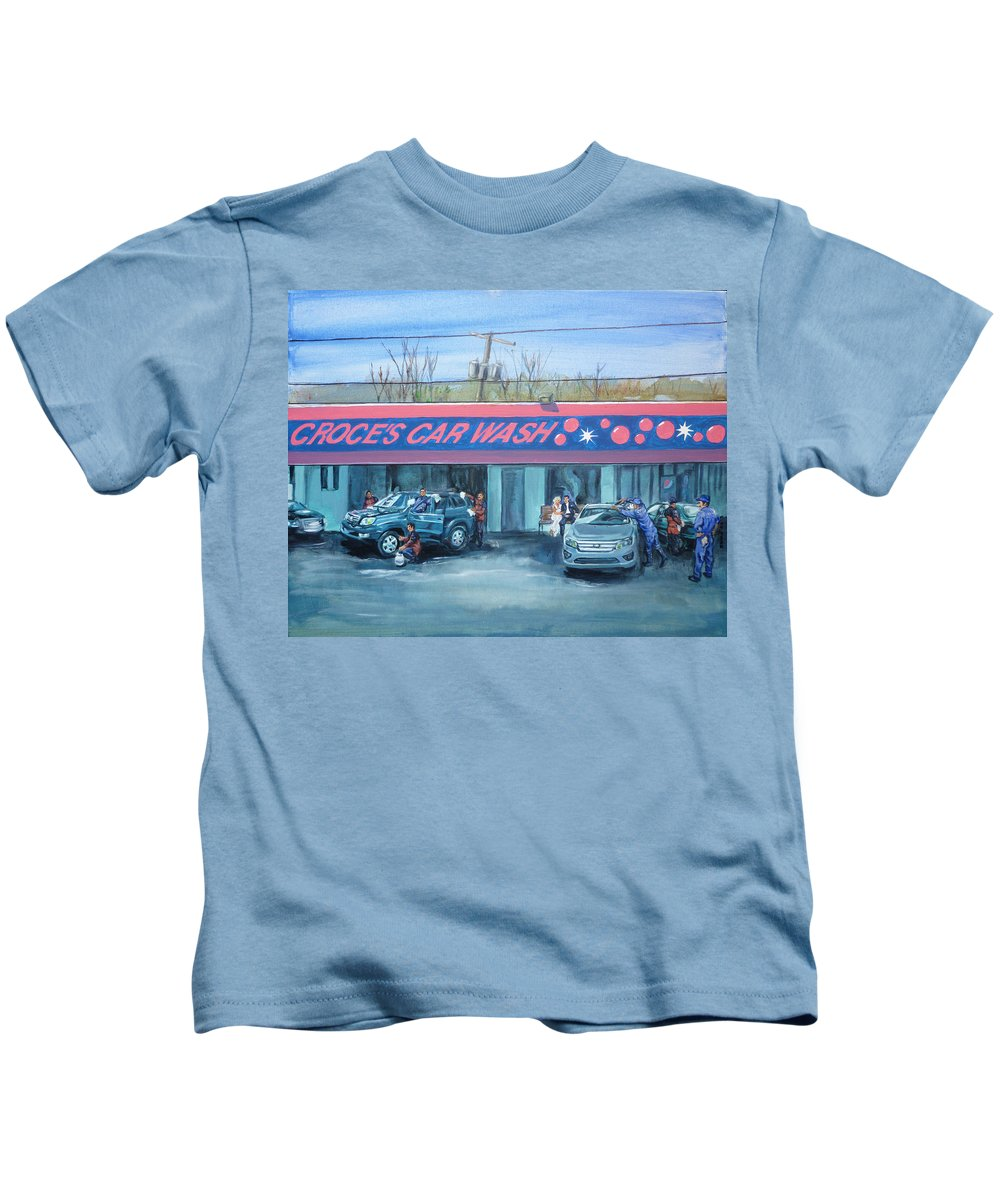 Jim Croce Kids T-Shirt featuring the painting Car Wash Blues by Bryan Bustard