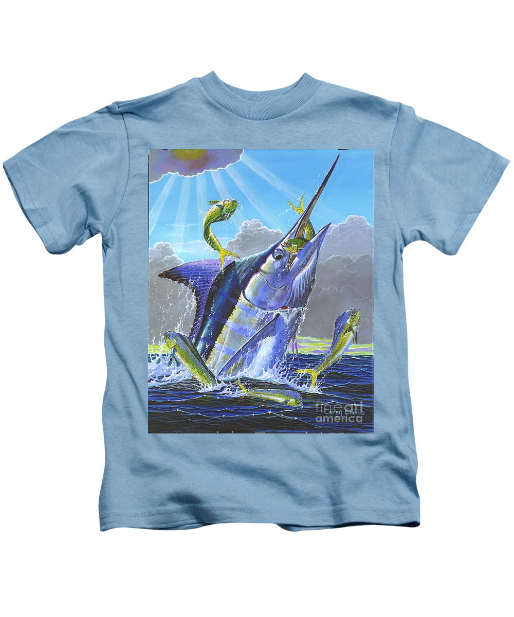 Marlin Kids T-Shirt featuring the painting Catch Em Up Off0029 by Carey Chen