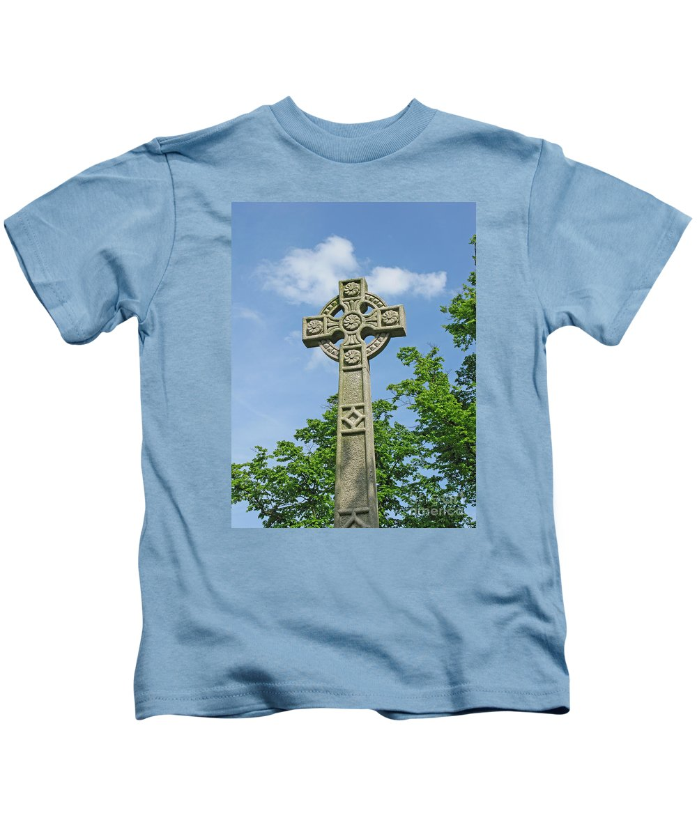 Cross Kids T-Shirt featuring the photograph Celtic Cross by Ann Horn