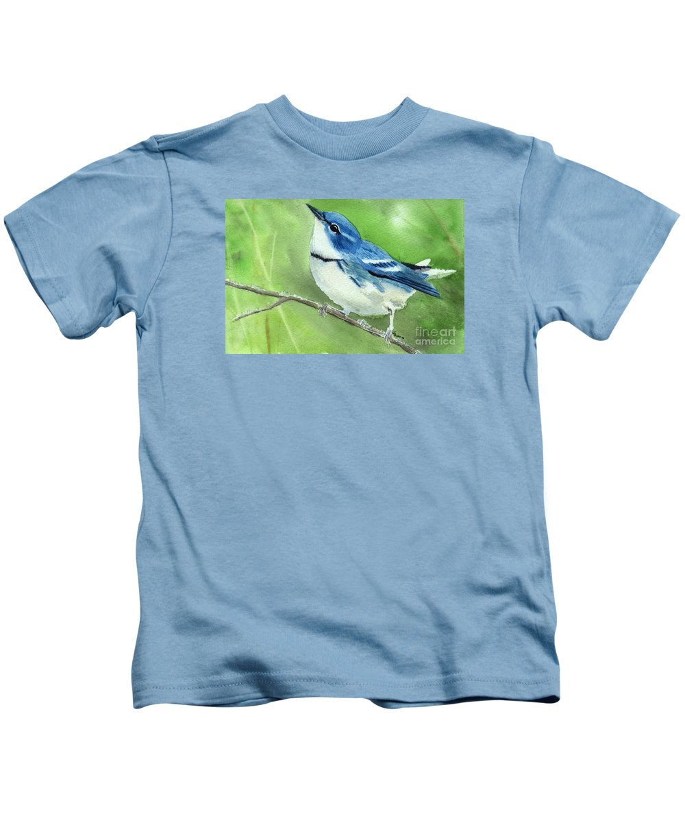 Bird Kids T-Shirt featuring the painting Cerulean Warbler by Lynn Quinn