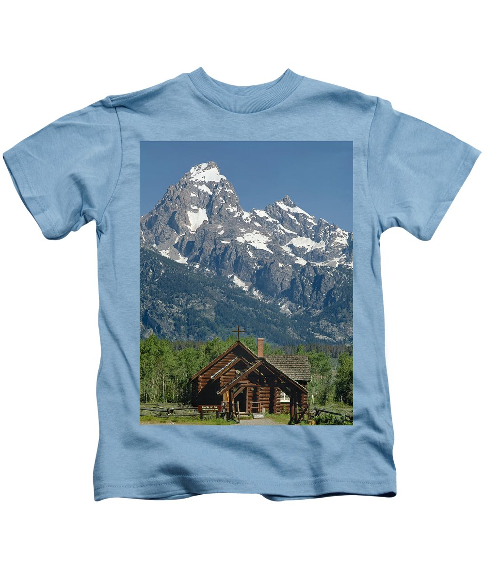 Chapel Of Transfiguration Kids T-Shirt featuring the photograph 1m9335-chapel And Grand Teton by Ed Cooper Photography