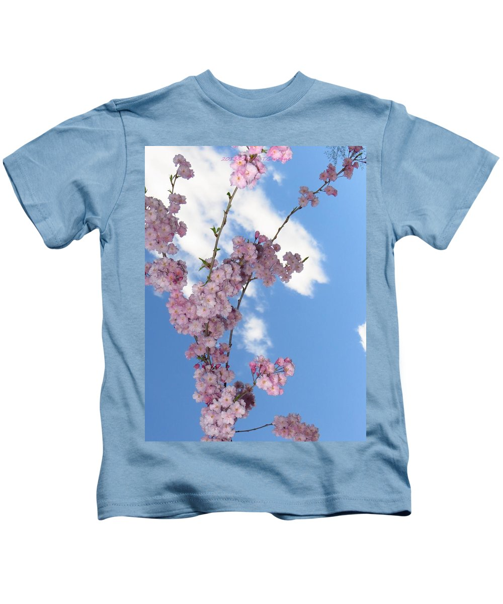 Flying Cherry Florals Kids T-Shirt featuring the photograph Cherry Floral Fountain by Sonali Gangane