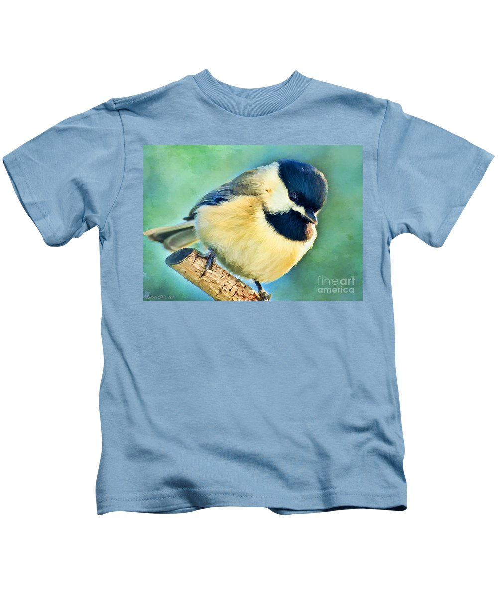 Nature Kids T-Shirt featuring the photograph Chickadee Greeting Card Size - Digital Paint by Debbie Portwood