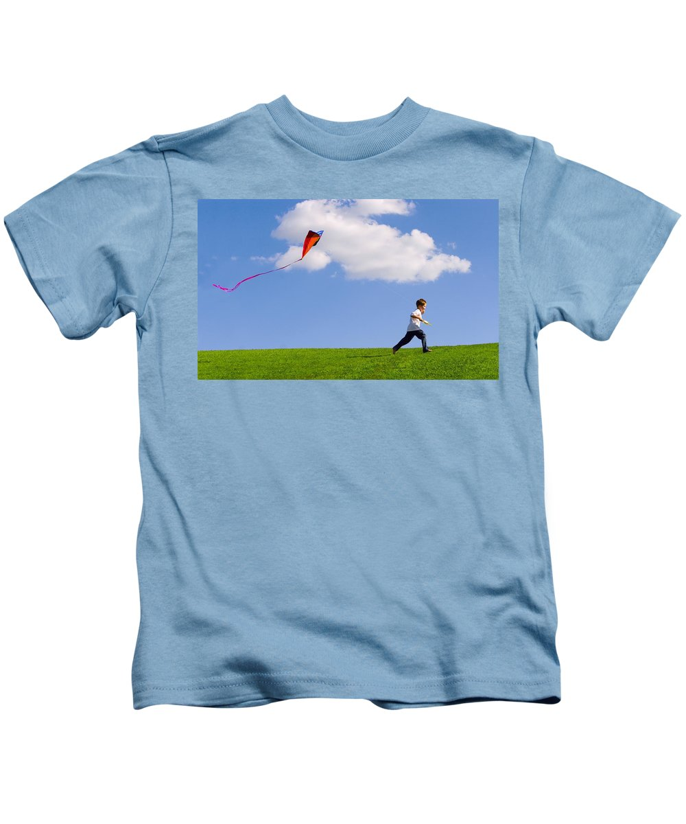 Flying A Kite Photographs Kids T-Shirts
