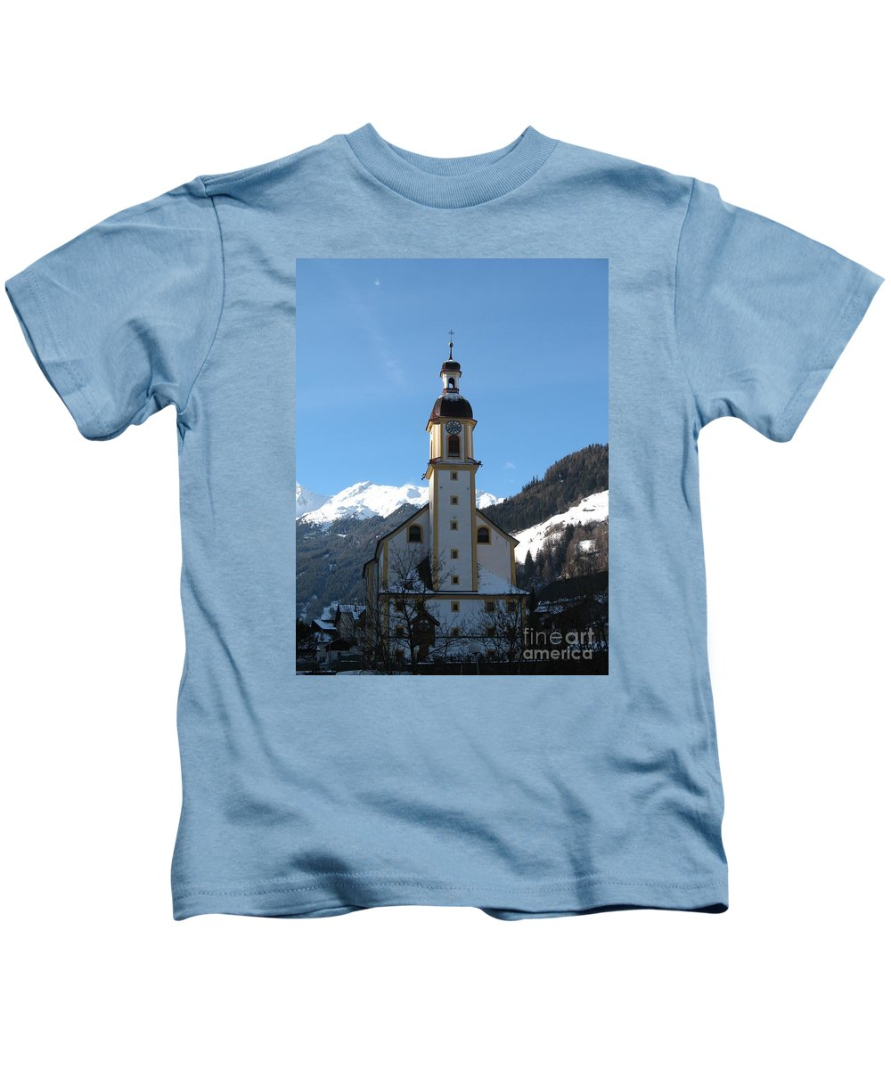 Church Kids T-Shirt featuring the photograph Church In The Austrian Alps by Christiane Schulze Art And Photography