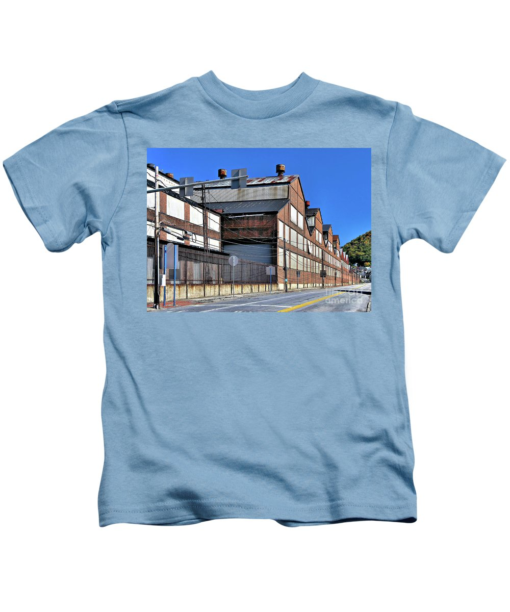 Closed Kids T-Shirt featuring the photograph Closed Steel Mill by John Waclo