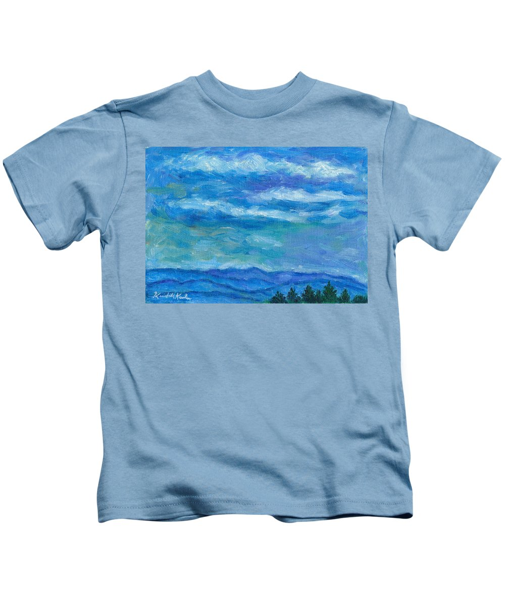 Landscape Kids T-Shirt featuring the painting Clouds Over The Blue Ridge by Kendall Kessler