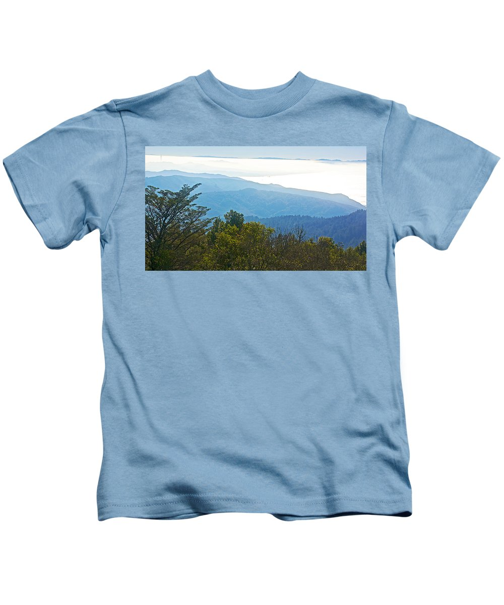 Coastal Range And Clouds From West Point Inn On Mount Tamalpias Kids T-Shirt featuring the photograph Coastal Range And Clouds From West Point Inn On Mount Tamalpias-california by Ruth Hager