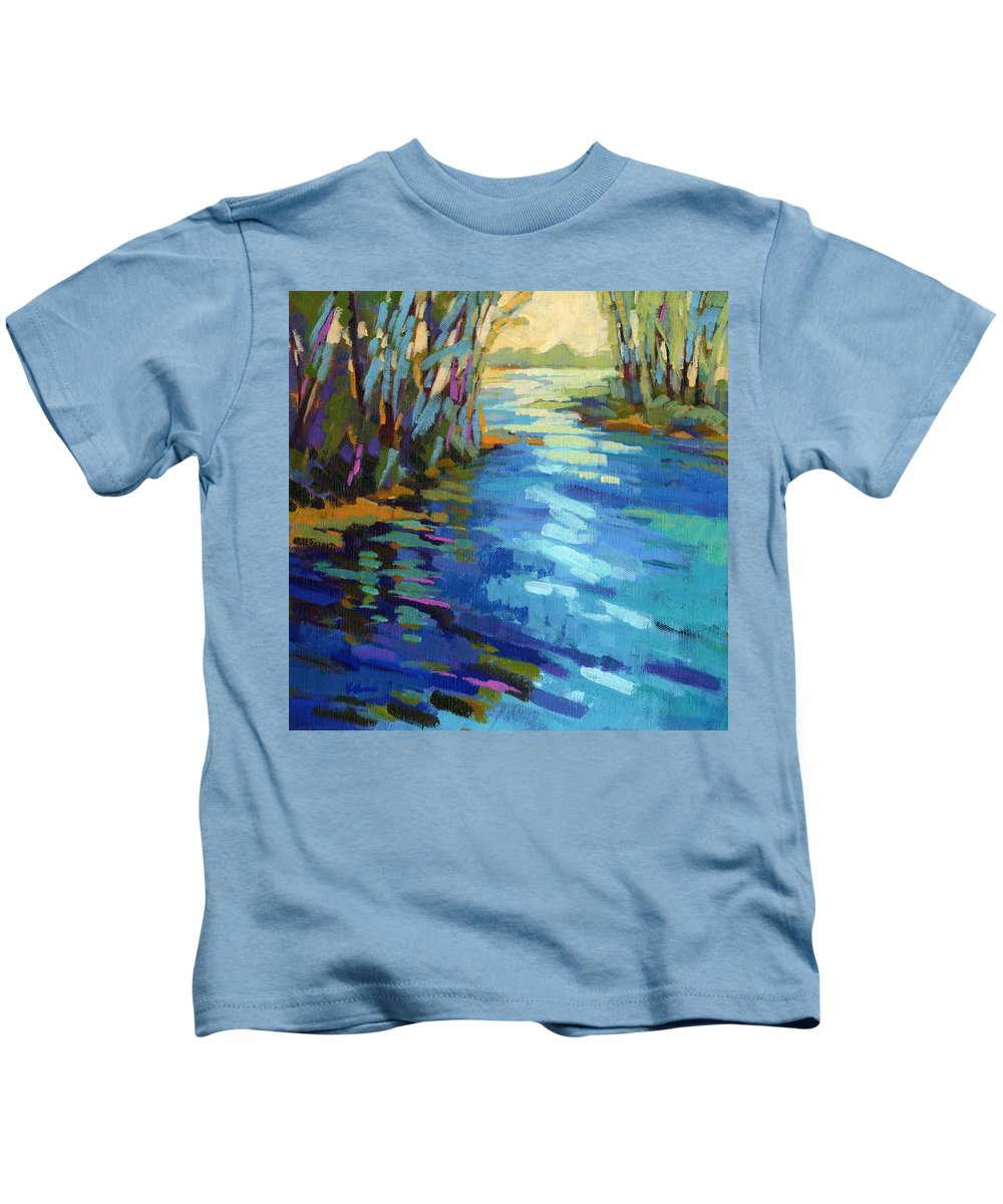 Salmon Kids T-Shirt featuring the painting Colors Of Summer 9 by Konnie Kim