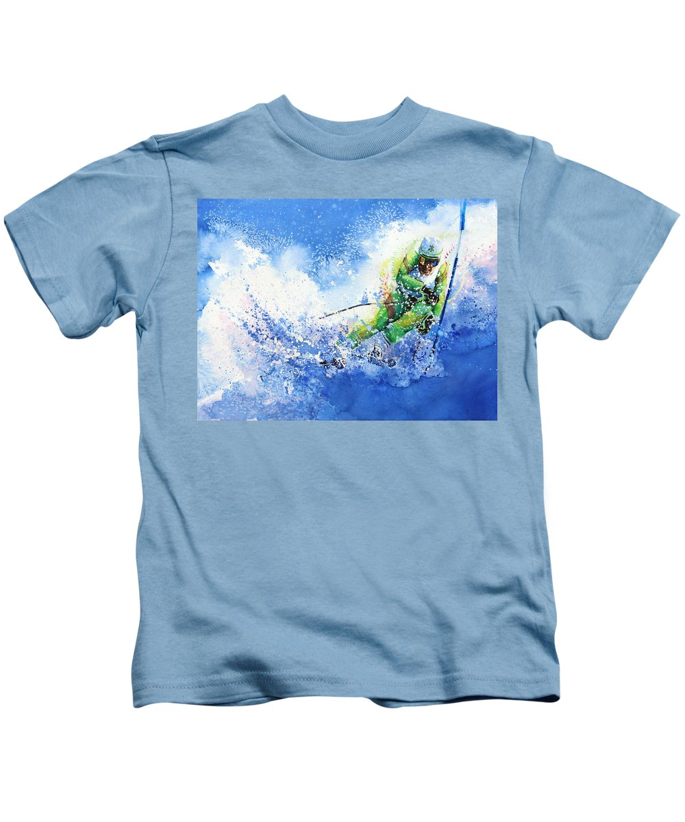 Olympic Sports Kids T-Shirt featuring the painting Competitive Edge by Hanne Lore Koehler