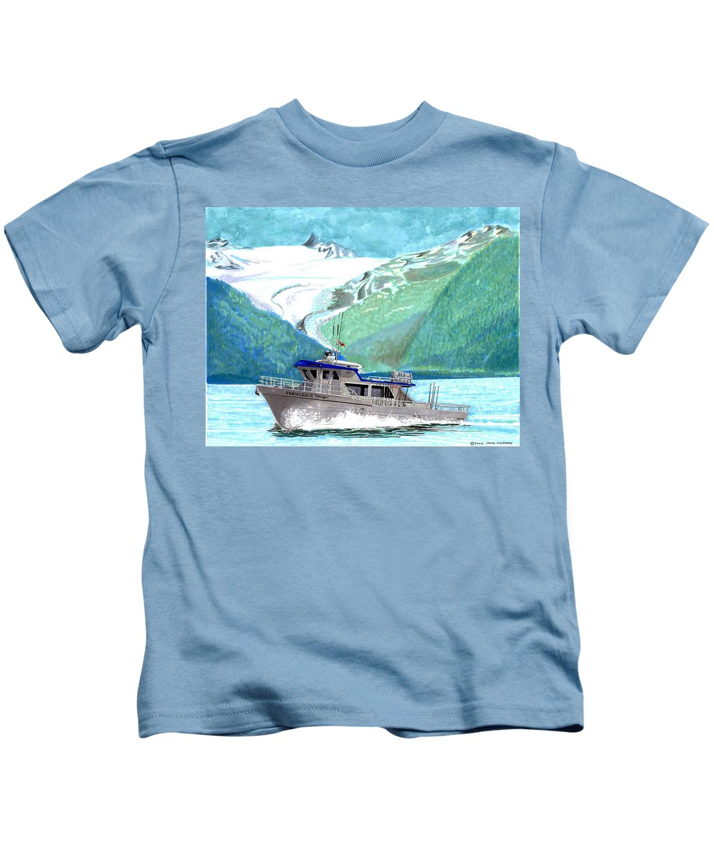 Marine Art By Jack Pumphrey Kids T-Shirt featuring the painting Crackerjack Charter Boat Fishing In Alaska by Jack Pumphrey